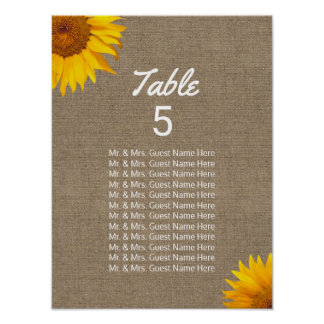 Wedding Seating Chart | Country Sunflower & Burlap Poster