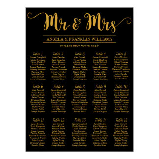 Wedding Seating Chart, Editable Background Color Poster