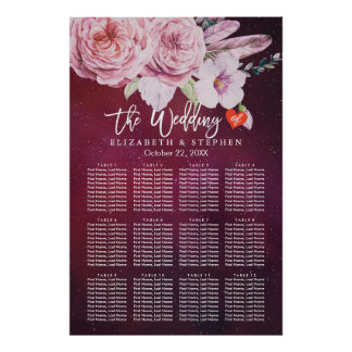 Wedding Seating Chart Floral Feathers Burgundy Red