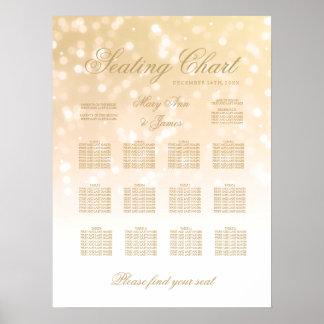 Wedding Seating Chart Gold Bokeh Sparkle Lights