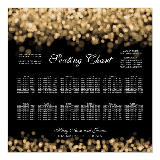 Wedding Seating Chart Gold Lights
