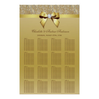 Wedding Seating Chart Gold Sequins Bow Poster