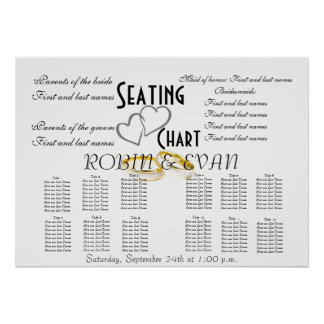 Wedding Seating Chart Hearts Destiny'S Destiny