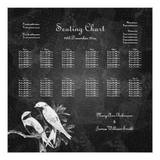 Wedding Seating Chart Love Birds Black