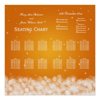 Wedding Seating Chart Party Sparkle Orange Posters