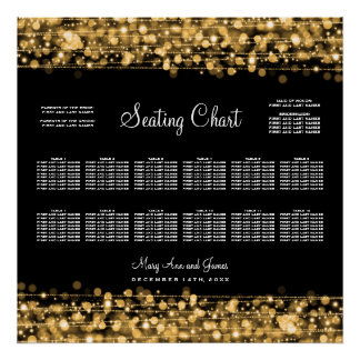 Wedding Seating Chart Party Sparkles Gold Print