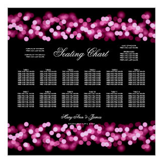 Wedding Seating Chart Pink Hollywood Glam Poster