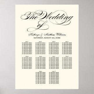 Wedding Seating Chart Poster | Black Calligraphy