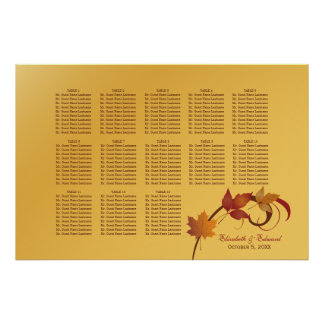Wedding Seating Chart Poster | Falling Leaves