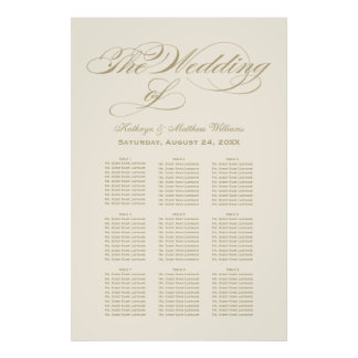 Wedding Seating Chart Poster Gold Calligraphy