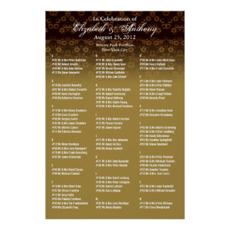 Wedding Seating Chart Poster Gold Floral