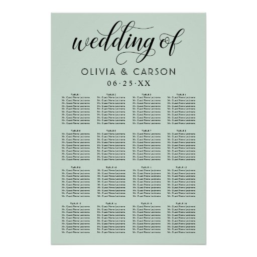 Wedding Seating Chart Poster | Mint Green