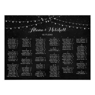 Wedding Seating Chart, Rustic Lantern Wedding Poster