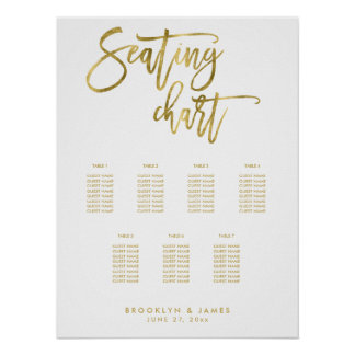 Wedding Seating Chart Script Gold Foil Effect