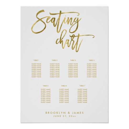 Wedding Seating Chart Script Gold Foil Effect Poster