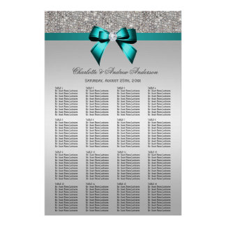 Wedding Seating Chart Silver Sequin Deep Teal Bow Poster
