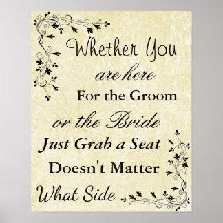 "Wedding Seating Chart, Sit ""wherever"" Cream Poster"