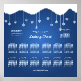 Wedding Seating Chart Snowflake Decoration Blue