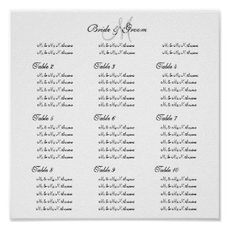 Wedding seating chart template - Create your own Poster