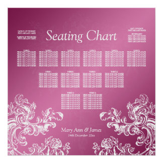 Wedding Seating Chart Vintage Swirls 2 Pink Poster