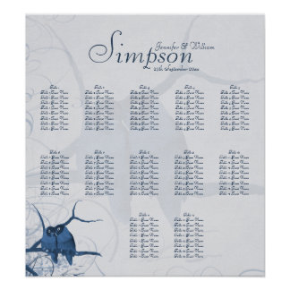Wedding Seating Chart with Blue Lovebirds