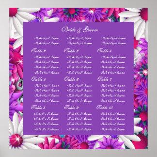Wedding seating charts purple pink print