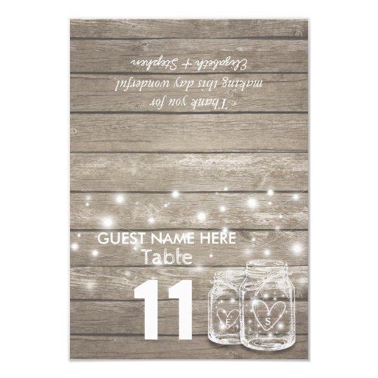 Wedding Seating Place Table Number Mason Jar Light Card