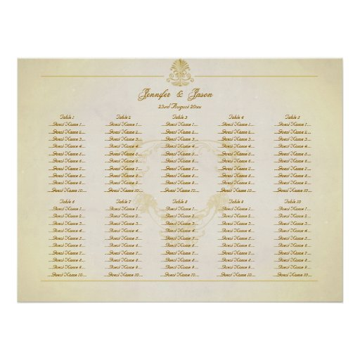 Wedding Seating Plan Chart Vintage Parchment Paper Posters