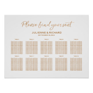 Wedding Seating Plan Rose Gold Lettered Sign