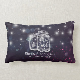 Wedding Shower Chic Mason Jar Purple String Lights Lumbar Pillow