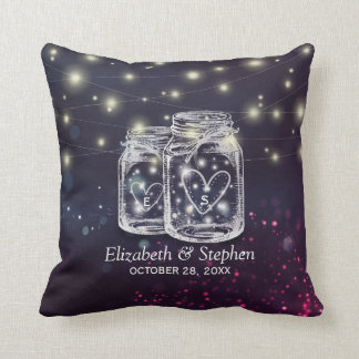 Wedding Shower Chic Mason Jar Purple String Lights Throw Pillow