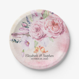 Wedding Shower Chic Watercolor Boho Floral Feather Paper Plate