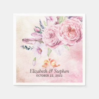Wedding Shower Elegant Watercolor Floral Feathers Disposable Napkins