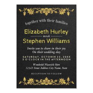 Wedding shower floral de broderie d'or de toile carton d'invitation  12,7 cm x 17,78 cm