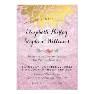 Wedding shower floral d'or rose moderne de carton d'invitation  12,7 cm x 17,78 cm