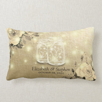 Wedding Shower Floral Mason Jar String Lights Gold Lumbar Pillow