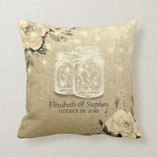 Wedding Shower Floral Mason Jar String Lights Gold Throw Pillow