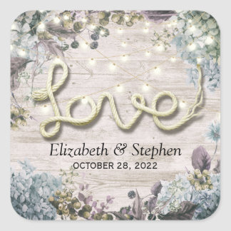 Wedding Shower Floral String Lights Wood Love Rope Square Sticker
