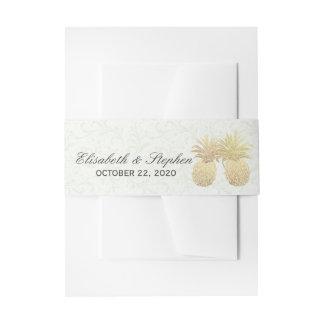 Wedding Shower Gold Foil Pineapples Damask Paper Invitation Belly Band