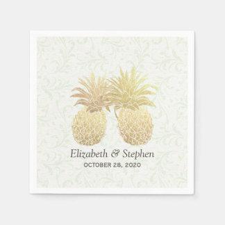 Wedding Shower Gold Foil Pineapples Damask Paper Napkin