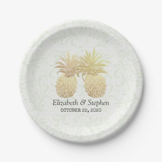 Wedding Shower Gold Foil Pineapples Damask Paper Paper Plate