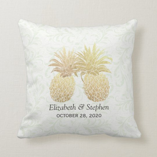 Wedding Shower Gold Foil Pineapples Damask Paper Throw Pillow