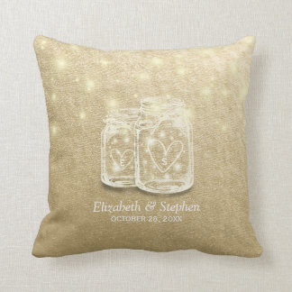 Wedding Shower Mason Jar String Lights Gold Foil Throw Pillow