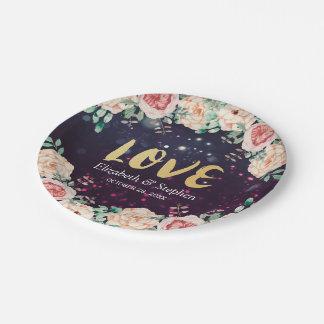Wedding Shower Modern Floral Purple Sparkle Lights Paper Plate