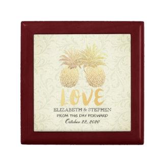 Wedding Shower Modern Gold Pineapples Damask Paper Gift Box