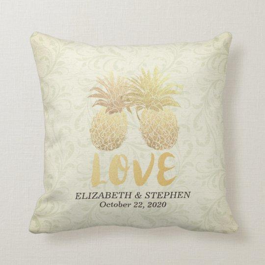 Wedding Shower Modern Gold Pineapples Damask Paper Throw Pillow