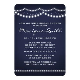 Wedding shower nuptiale bleu-foncé de lumière carton d'invitation  12,7 cm x 17,78 cm