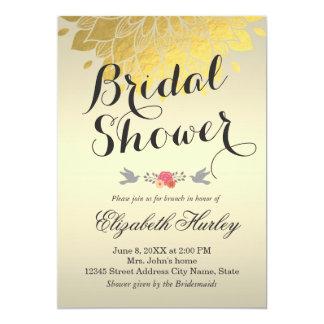 Wedding shower nuptiale floral d'or chic moderne carton d'invitation  12,7 cm x 17,78 cm