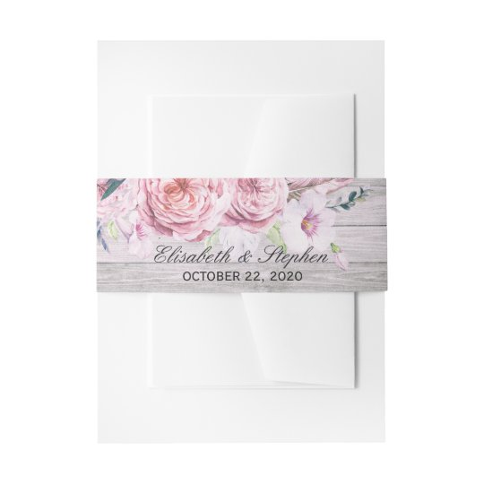 Wedding Shower Watercolor Boho Floral Rustic Wood Invitation Belly Band