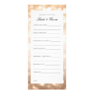 Wedding Shower Wishes Copper Glitter Lights Custom Rack Card